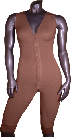 110 HIGH COMPRESSION BODYSUIT ABOVE THE KNEE WITH BRA, FRONTAL HOOKS AND PELVIC ZIPPER.
