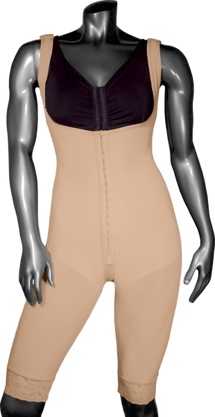 128 HIGH COMPRESSION GIRDLE ABOVE THE KNEE WITH FRONTAL HOOKS AND PELVIC ZIPPER. - BODY SHAPE TECH