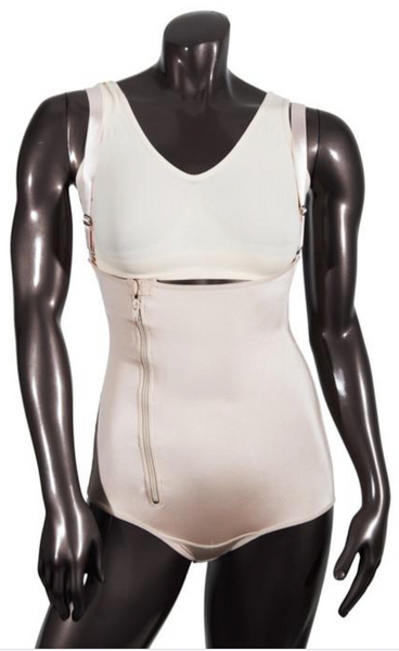 262 LOW COMPRESSION BODYSUIT HIPSTER WITH FRONTAL ZIPPER AND PELVIC HOOKS. - BODY SHAPE TECH
