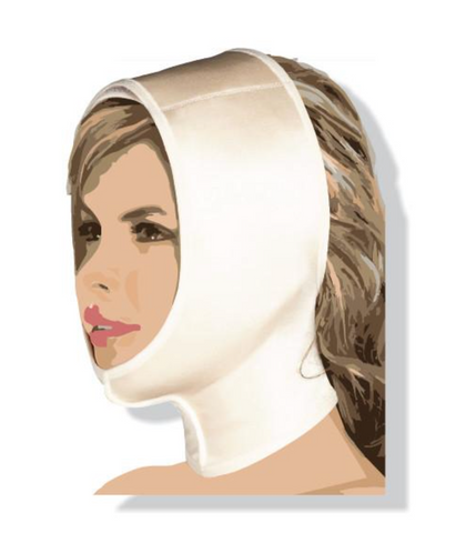 FACE AND NECK WRAP WITH CHIN GUARD SUPPORT AND VELCRO SYSTEM. - BODY SHAPE TECH