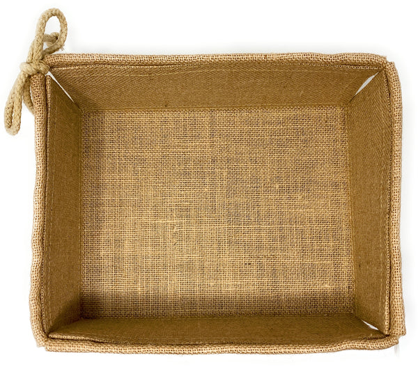 Decorative Basket Jute Burlap Fabric Rustic Farmhouse Storage Bin Organizer Rectangular and Collapsible for Easy Storage