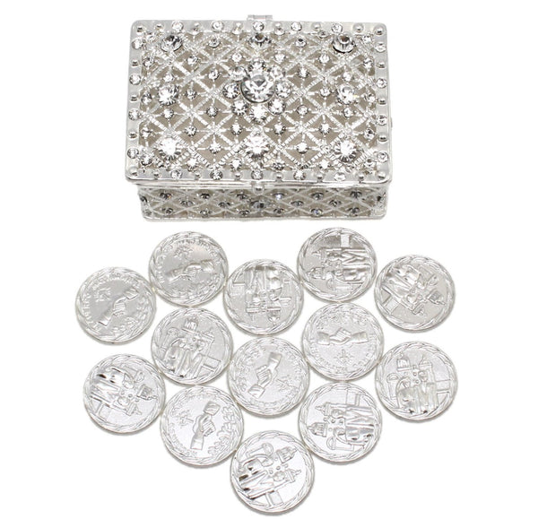 Wedding Unity Coins - Arras de Boda - with Chest Box and Crystals