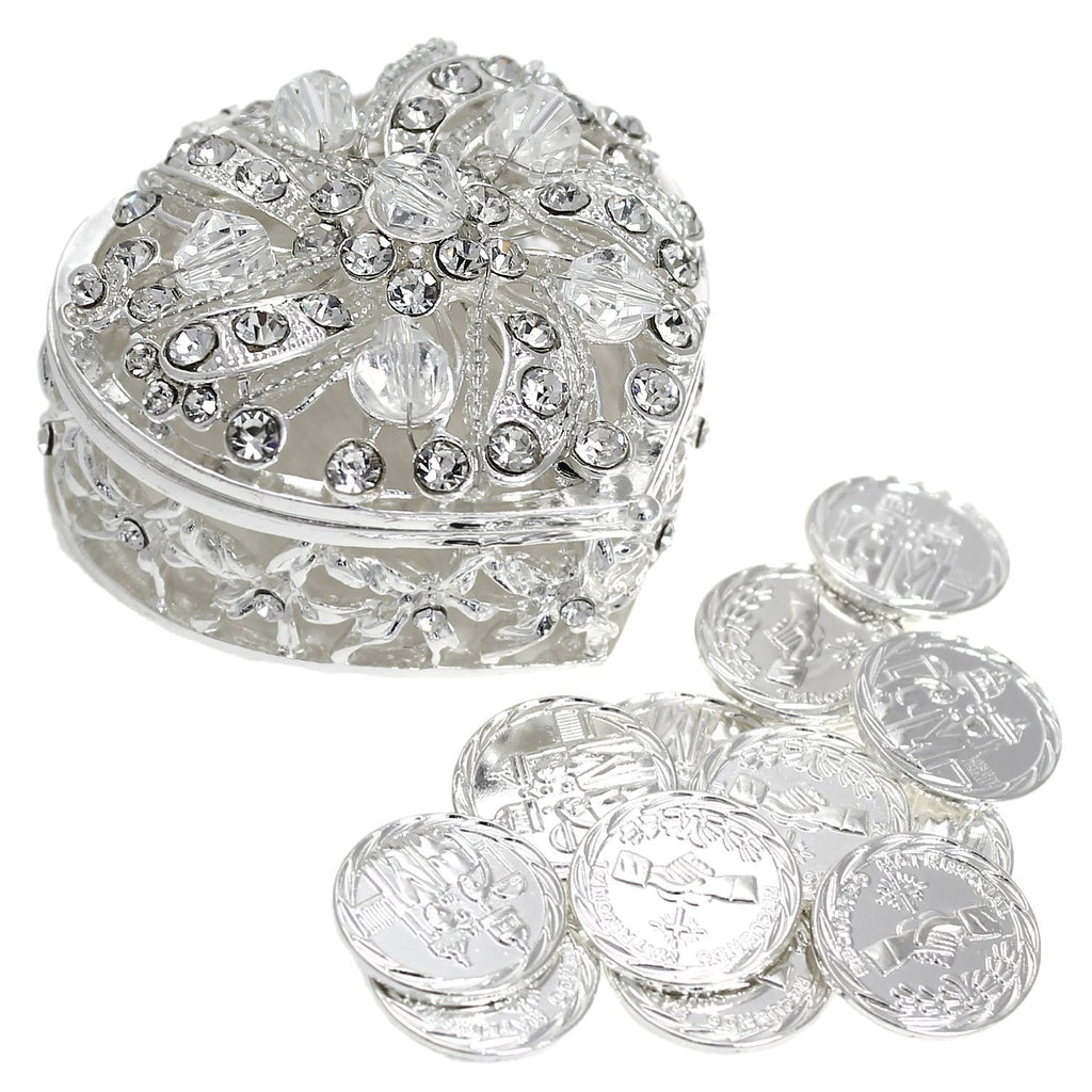 Wedding Unity Coins (Arras de Boda) Heart Shaped Chest Box with Crystals