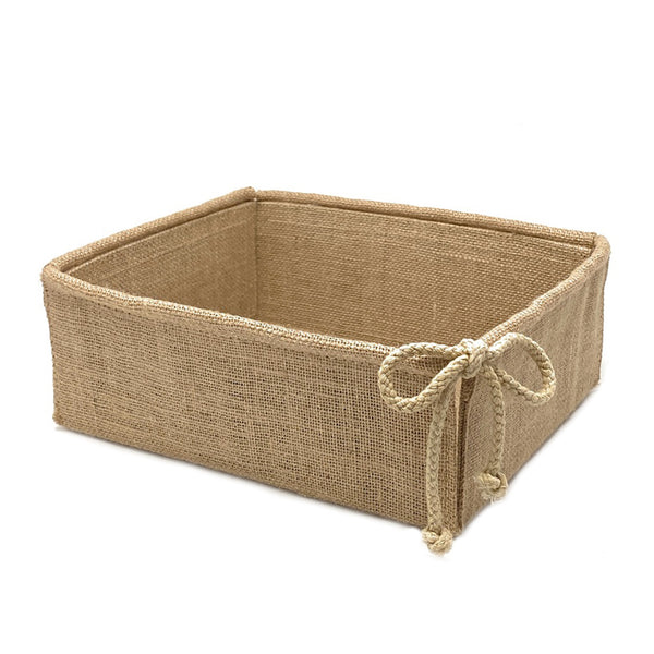 Decorative Burlap Basket Foldable for Gifts and Decor