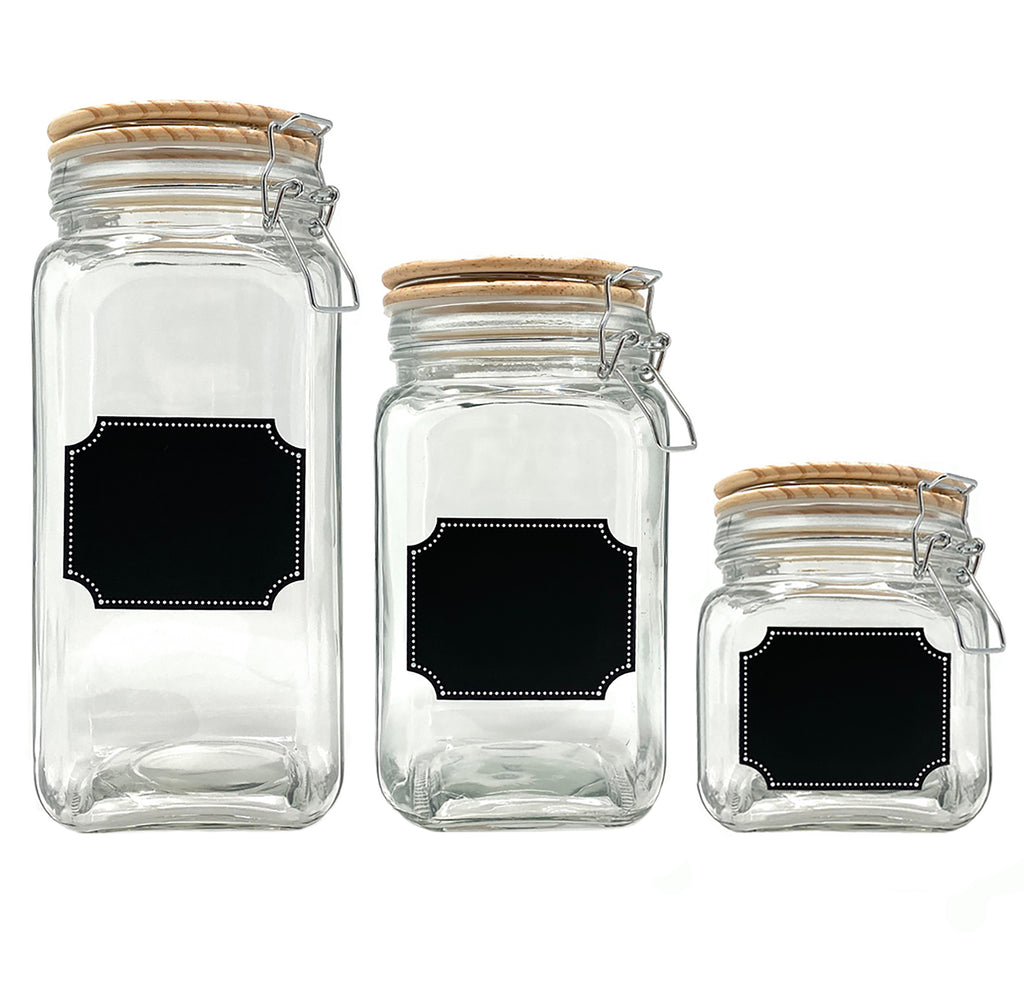 Glass Canister Food Storage Container with Airtight Wood Lid and Chalkboard Labels (Set of 3)