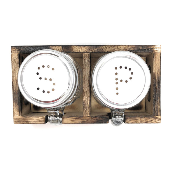 Mason Jar Salt & Pepper Shakers Set with Wood Tray