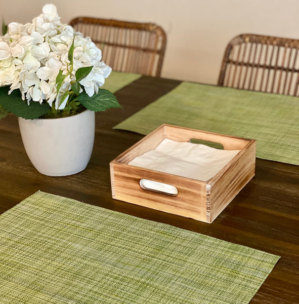 Napkin Holder Tray in Rustic Solid Wood