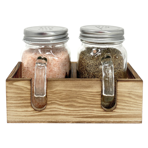 Mason Jar Salt & Pepper Shakers Set with Wood Caddy