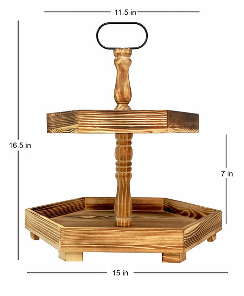Two Tiered Stand Serving Tray in Solid Wood