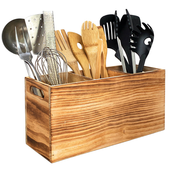 Utensil Holder in Rustic Wood Kitchen Countertop Organizer