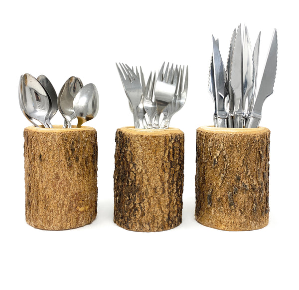 Silverware Utensil Holder in Natural Wood Bark for Rustic Kitchen Farmhouse Decor