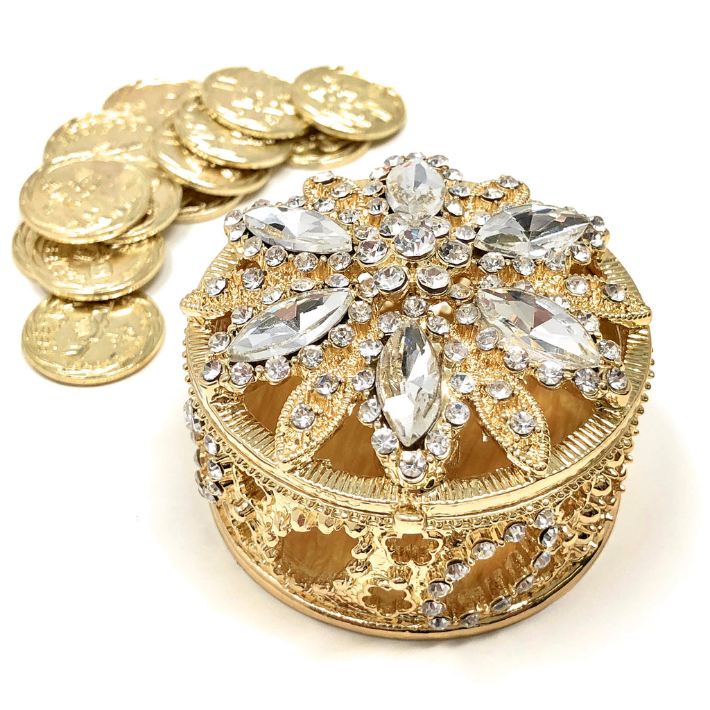 Wedding Unity Coins - Arras de Boda - Round Box with Crystals
