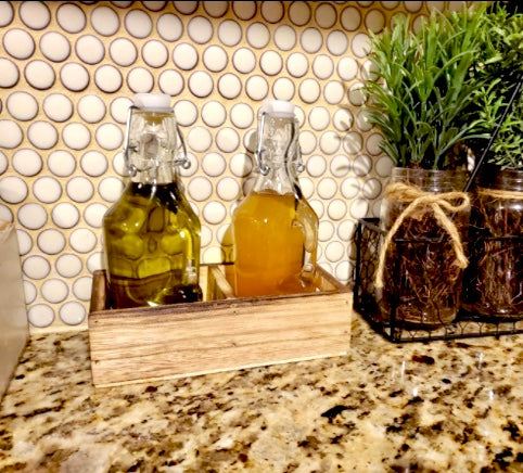 Oil and Vinegar Flip Top Bottle Dispenser Set with Rustic Wood Tray