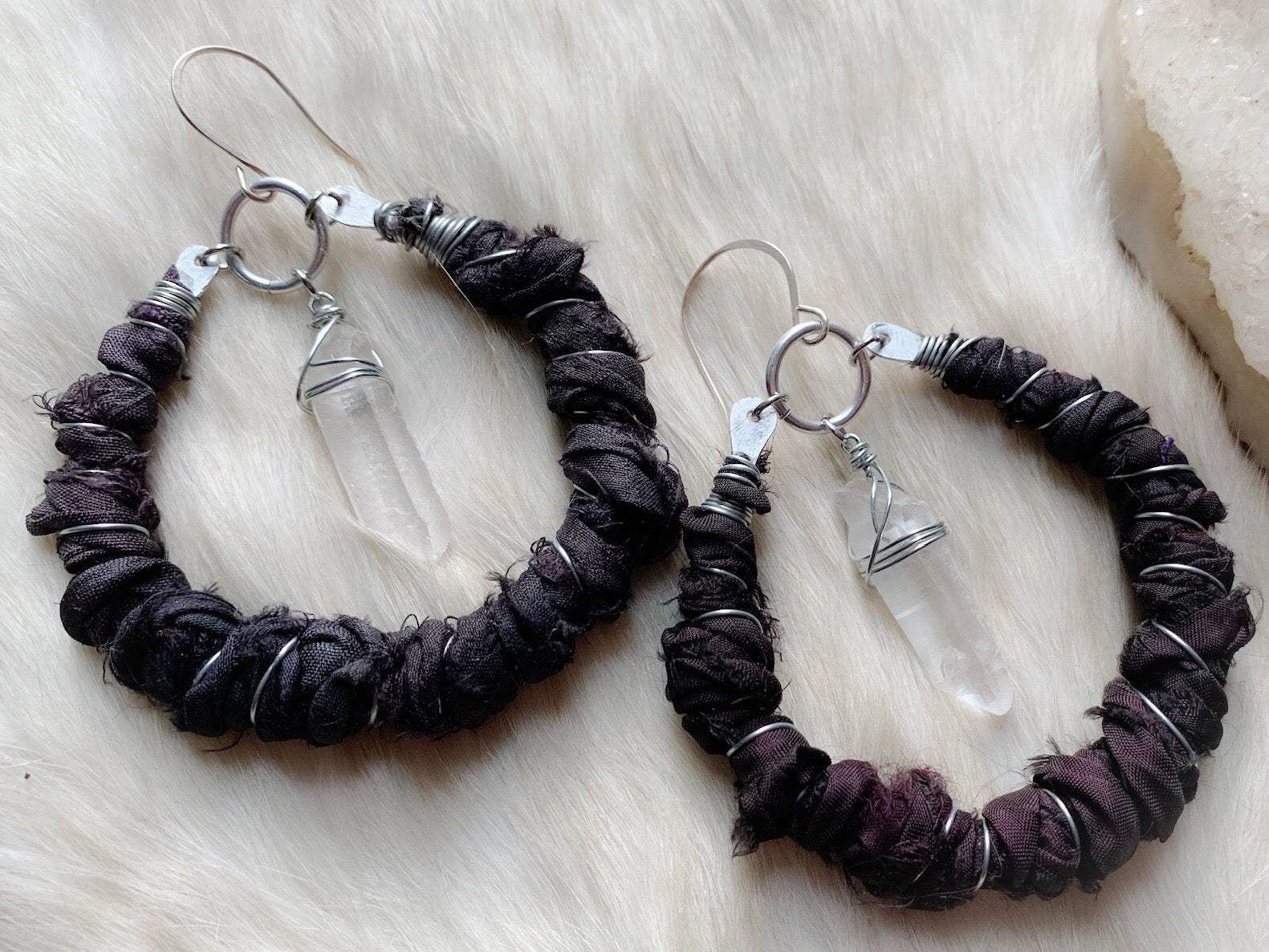 Silk and crystal hoop earrings in black