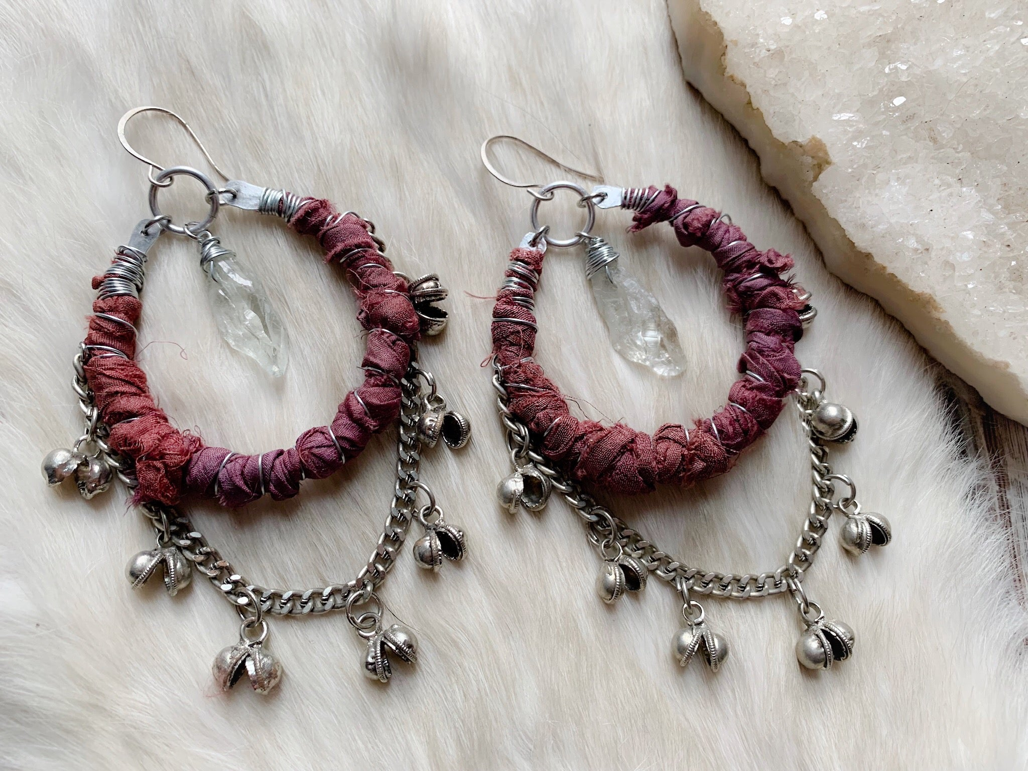 Silk and bell chain earrings in crimson