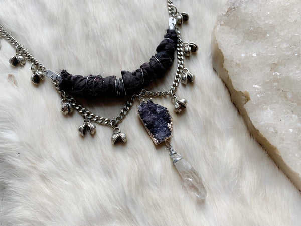 Silk and bell chain necklace in black