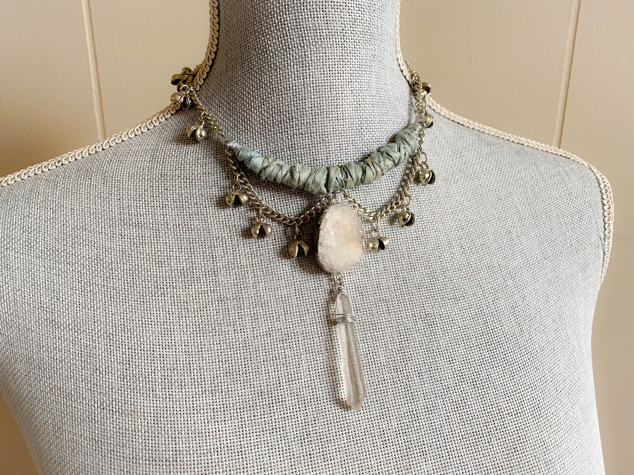 Silk and bell chain necklace in aqua