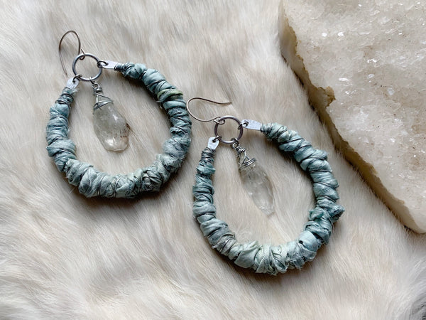 Silk and crystal hoop earrings in aqua