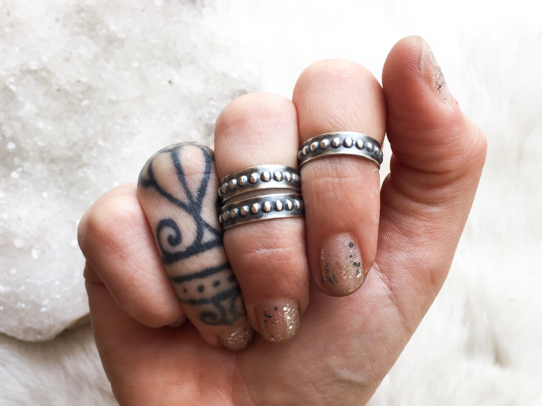Studded sterling silver midi rings