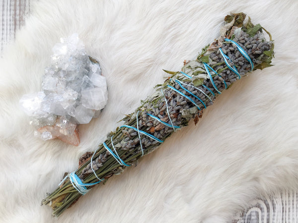 Mugwort and lavender smudge stick