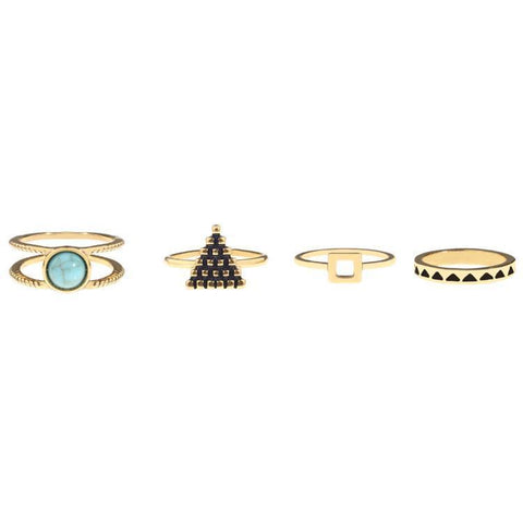 Golden Boho Ring Set