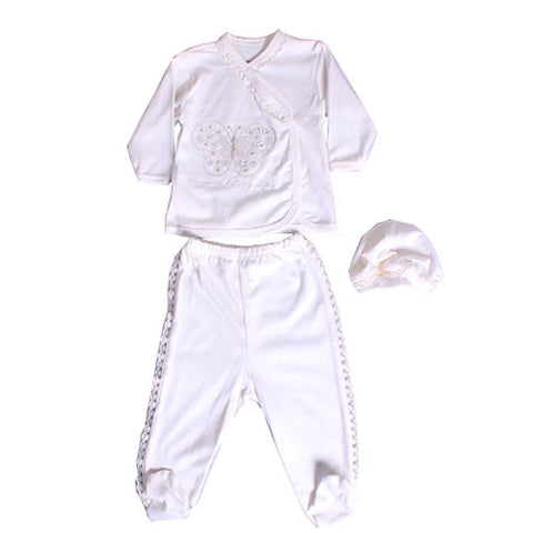 Cream Butterfly Tee & Footed Pant Set