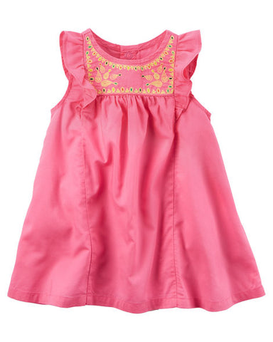 Carter's Pink Cotton Dress & Diaper Cover Set