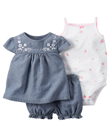 Carter's Chambray 3-Piece Bodysuit & Diaper Cover Set