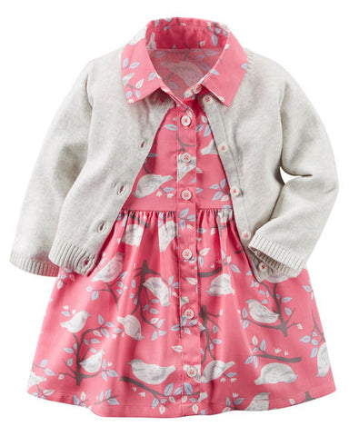 Carters Dress and Cardigan Set - Pink/Cream Cardi