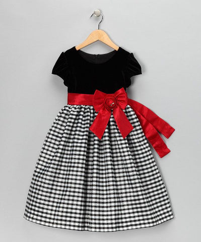 Jayne Copeland Black & Red Velvet Dress - uniquechildren