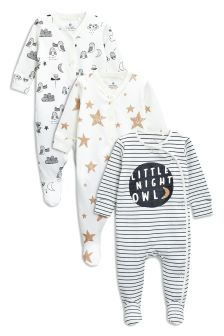 Next Baby Little Night Owl 3 Pack Sleepsuits