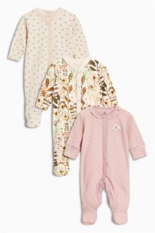 Next Baby 3 Pack Floral n Plain Sleepsuits