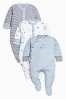 Next Baby 3 Pack Turtle Sleepsuits