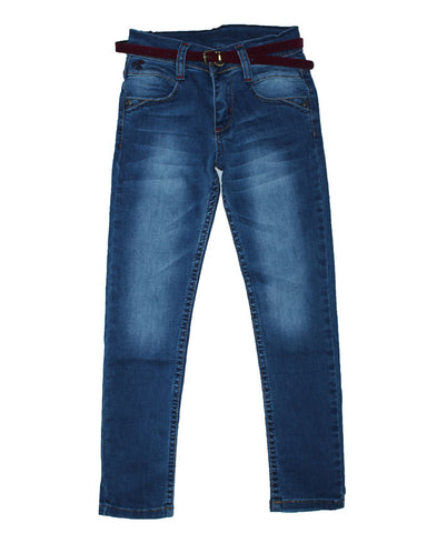 Belted Girls Skinny Jeans