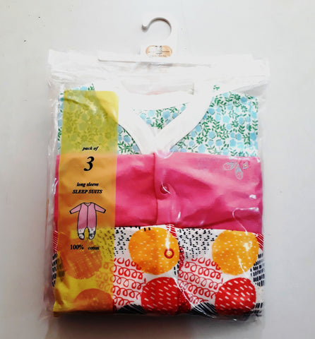 UK 3 Pack Fruity Baby Sleepsuits