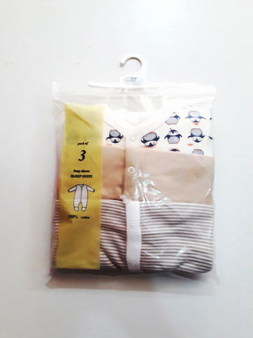 UK 3 Pack Penguin Baby Sleepsuits