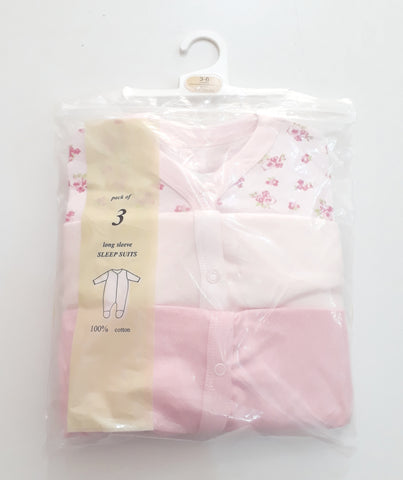 UK 3 Pack Baby Light Pink Sleepsuits