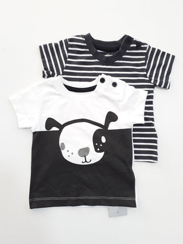 Early Days 2 Pack Short Sleeve Blk/ White Shirt