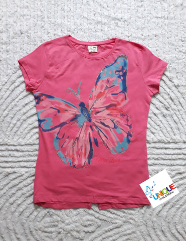 Pink Butterfly Short Sleeve Top