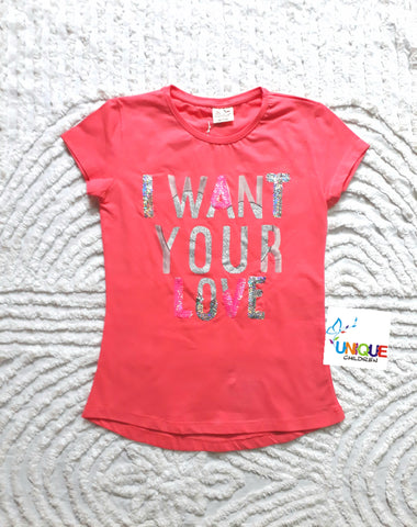 Sequined Love Short Sleeve Top