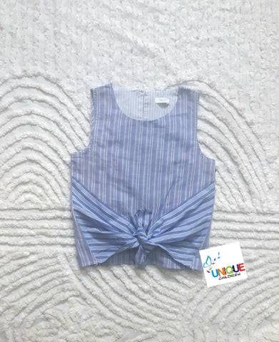 Next Blue Stripe Front Tie Sleeveless Top