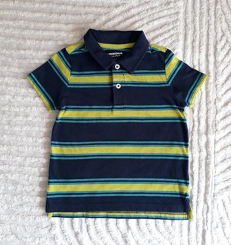 Arizona Striped Polo Shirt -Lemon/Navy