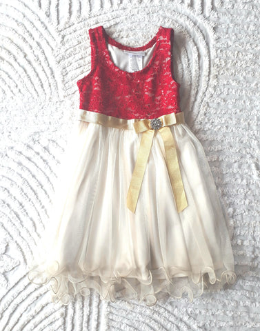 Bonnie Jean Red to Gold Ball Dress
