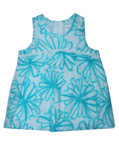 White And Blue Pattern Girls Top