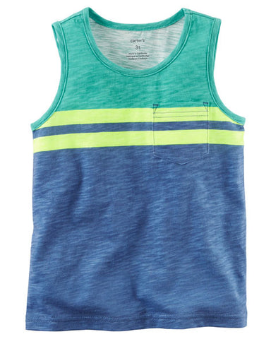 Carter's Striped Blue Sleeveless T- Shirt