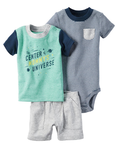Carters 3pc Shirt, Bodysuit and Shorts Set