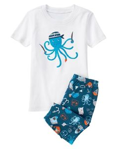 Gymboree Octopus Short Sleeve Tee & Short Leg Pyjamas Set