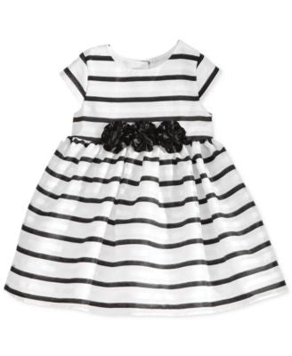 Marmellata Black and White Striped Dress