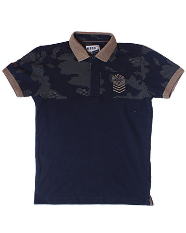 Navy & Brown Polo Shirt