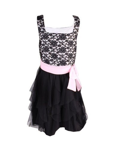 Bonnie Jean Black & Pink Cork Screw Dress - uniquechildren